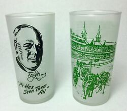 Rare Set Of Two Kentucky Derby Glasses 1949 1950 Churchill Downs Gambling Drink