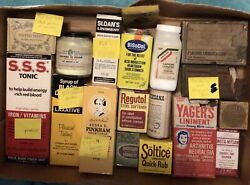 Vintage Lot Of 18 Medicine And Ointment Bottles And Boxes Unopened And Opened