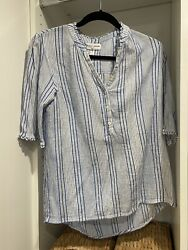 Apiece Apart New York Womens Blue And White Striped Cotton Blouse 4 Small New