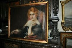 Striking Early 20th Century Antique High Society Lady Portrait Oil On Canvas
