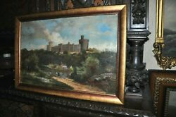 Fine Antique Painting Of The And039and039 Windsor Castle England And039and039 Oil On Canvas