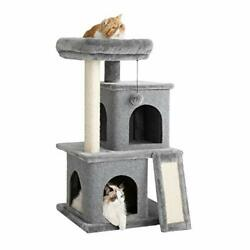 Cat Tree for Indoor Cats Multi Level 34 inches Pet Kitty Play House Grey