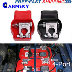 New Universal Car Military Style Battery Terminal Top Post With Covers +and-