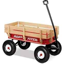 Pull Along Wagon Cart Truck Dolly Full Size All Terrain Classic Steel Wood Red