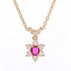 Queen Ruby Necklace 18k Yellow Gold Necklace K18 Yellow Gold Women