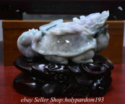 8.8 Chinese Green Emerald Ice Jadeite Jade Carving Dragon Turtle Wealth Statue