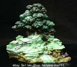 9.6 Chinese Natural Green Dushan Jade Carving Hill Tree House Shanzi Statue