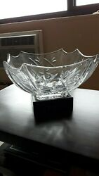 New Waterford Crystal Bamboo Pattern Bowl Rosewood Base Discontinued And Vintage