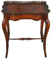French Country Walnut Scalloped Side End Accent Table Brass Edge Provincial 24