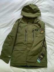 Planks Good Times Ski Insulated Jacket Army Green, Large, New With Tags