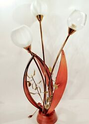 Vintage 1950's 60's Mcm Teak Tulip Style Table Lamp Eames Nelson Era Look And Read