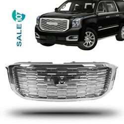 For 14-20 Gmc Yukon Xl Denali Style Front Upper Hood Grille Abs Chrome Grill