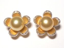 13mm South Sea Golden Pearl Earrings, Diamonds, Solid 14k Yellow Gold.