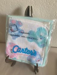 2x Nos New Vintage Carter's Infant Washcloths 100 Cotton Terry Usa Made