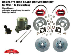 1964-66 Ford Mustang Front Drum To Disc Brake Kit M/c -11 Xd Rotor Red