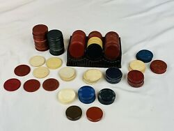 Large Vintage Mixed Lot Clay Paper Plastic Poker Chips W/ Tray - Some Embossed