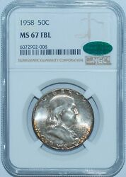 1958 P Ngc Ms67fbl Cac Full Bell Lines Franklin Half Dollar Mint Set Toned