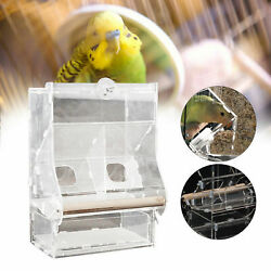 Food Feeder Auto Clear Acrylic Cage Double Hopper For Parrot Bird Cockatiels