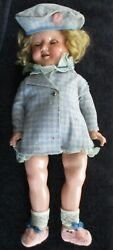 Antique Ideal Shirley Temple Doll 1930's 18 With Teeth And Green Eyes