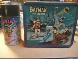 Vintage 1966 Batman Lunchbox And Thermos - Metal - Aladdin Rare Collectible