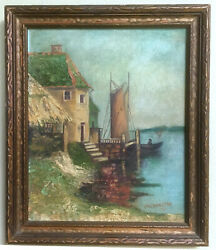 Antique Oil On Canvas Painting Of Seaside With Frame