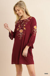 Sml Umgee Wine Floral Embroidered Crossed Drawstring Neckline Dress/tunic Bhcs