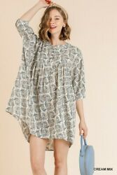 Sml Umgee Cream Button Up Peasant Style Shirt Dress/tunic Bhcs