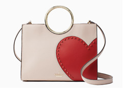 Kate Spade New York Heart It Sam Satchel Heart Open Top Napa Leather Blush Red