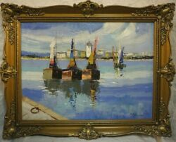 Antique Painting 80/60cm. 95/75cm. Overall Oil On Canvas By G. Lapchine