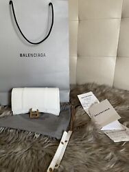 Balenciaga Hourglass Small White Croc💕 Leather Tote New Sold Out Item
