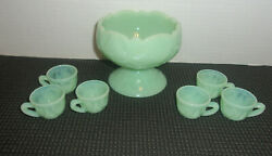 Miniature Punch Bowl And 6 Cups Jadeite Green Set Child Size