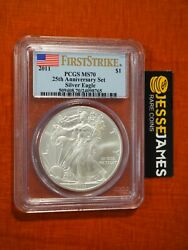 2011 Silver Eagle Pcgs Ms70 Flag First Strike From 25th Anniversary Set Label