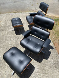 Professionally Reupholstered And Refinished Charlton Chair And Ottoman, Eames Style