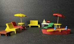 Lot Of Vintage Doll House Outdoor Patio Furniture