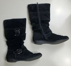 White Mountain Womenand039s Lovable Black Suede Mid Calf Boots Size 6