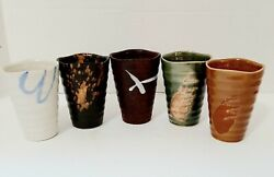 Set Of 5japanese Pottery Sushi Tea Cup Yunomi Various Finishes On Each