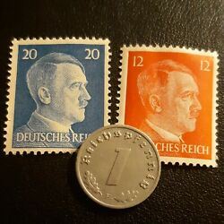 Old Small German Penny 1 Per Order , Km97 , Germany , +2 Unused Ww2 Stamps