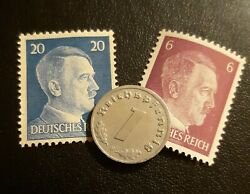 Old Small German Penny 1 Per Order , Km97 , Germany , +2 Unused Stamps , Ww2