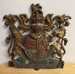 Antique Cast Iron Plaque Of The British Royal Coat Of Arms
