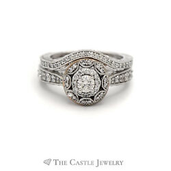 Crown Collection 1cttw Vintage Inspired Diamond Bridal Set W Diamond Halo And Band