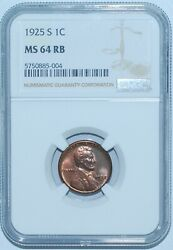 1925 S Ngc Ms64rb Red And Brown Lincoln Wheat Cent