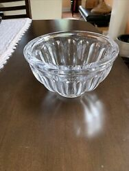 Vintage Heavy Crystal Clear Bowl Sevres Style France Mid Cent Modern Art Glass 8