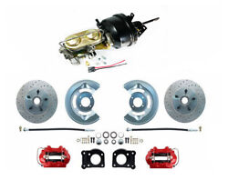 1964-66 Ford Mustang Front Red Power Disc Brake Kit Low Profile M/c Xd Rotors