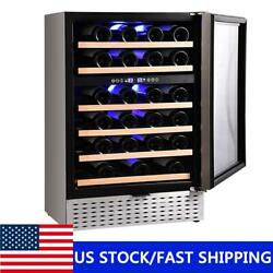 46 Bottle Wine Cooler Beer Drinks Fridge Led Display Touch Control Dual Zone Usa
