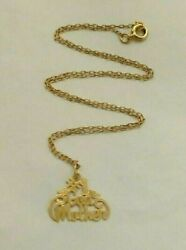 14k Yellow Gold 1 God Mother Ladies Pendant Necklace - 16