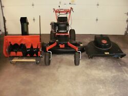 Dr Power Field And Brush Mower With Finish Mower And Snowblower Attachments
