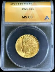 1926 Gold United States 10 Indian Head Eagle Coin Anacs Mint State 63