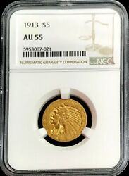 1913 Gold Us 5 Dollar Indian Head Half Eagle Coin Ngc About Uncirculated 55