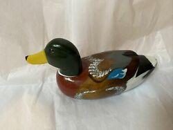 Decoy Duck Wooden Hand Carved Duck Decoy Handpainted Hunting Vintage