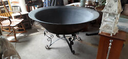 Delivery Antique 56and039and039 Large 80 Gallon Cast Iron Cauldron Pot Syrup Kettle Pit